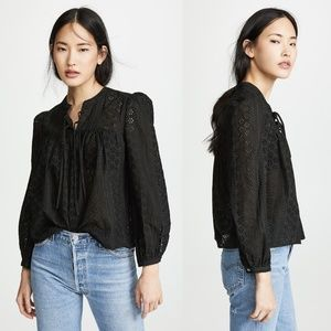 Madewell Black Eyelet Double Tie Peasant Top M